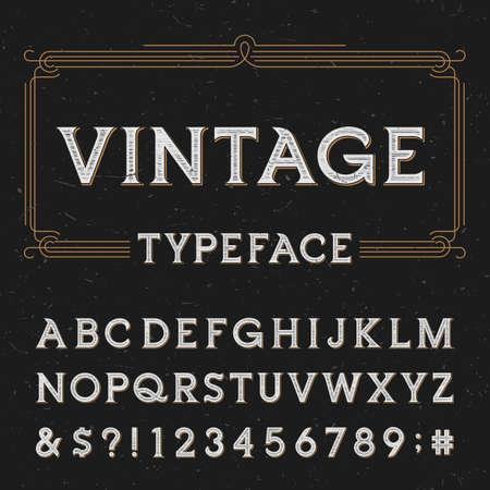 年代物: ビンテージ ベクトルのタイプフェイス。暗い苦しめられた背景には、文字、数字および記号を入力します。ラベル、見出し、ポスターなどのアルファベットのフォ