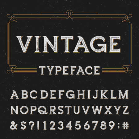 retro design: Vintage vector typeface. Type letters, numbers and symbols on a dark distressed background. Alphabet font for labels, headlines, posters etc.