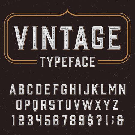 레트로 벡터 서체. 어두운 고민 배경에 문자, 숫자 및 기호를 입력합니다. 라벨, 헤드 라인, 포스터 등 알파벳 글꼴