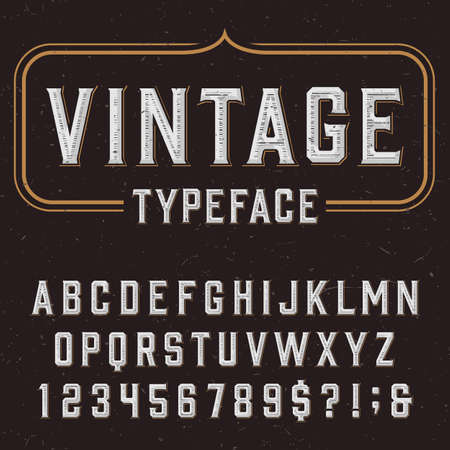 Retro vector typeface. Type letters, numbers and symbols on a dark distressed background. Alphabet font for labels, headlines, posters etc.