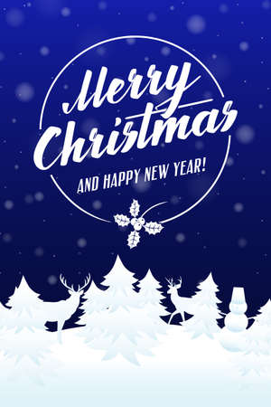 falling snow: Merry Christmas and Happy new year card. Blue background with falling snow and lettering. Vector illustration.