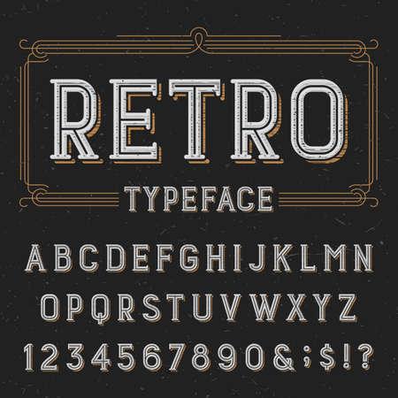 Retro lettertype met verontruste overlay textuur. Retro vector lettertype. Letters, cijfers en symbolen. Alfabet lettertype voor labels, koppen, posters etc.