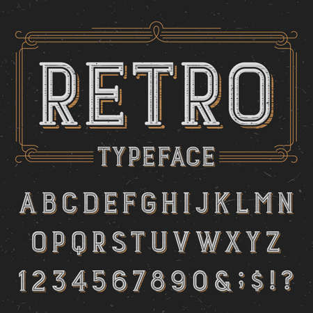 alphabetical order: Retro typeface with distressed overlay texture. Retro vector typeface. Letters, numbers and symbols. Alphabet font for labels, headlines, posters etc.