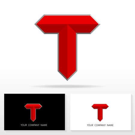 Letter T logo design vector sign - Stock vector. Business card templates. Иллюстрация