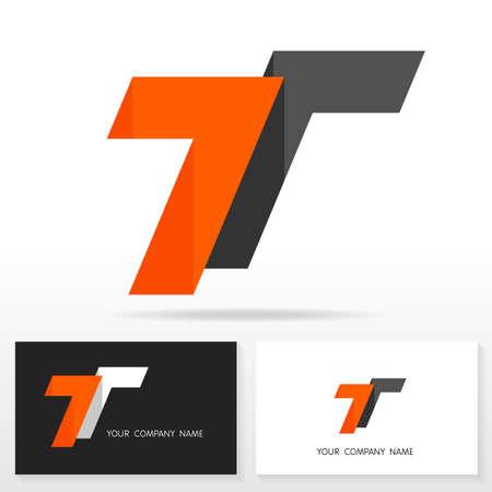 logo: Thư thiết kế logo T - dấu hiệu vector. Kinh doanh thẻ mẫu.