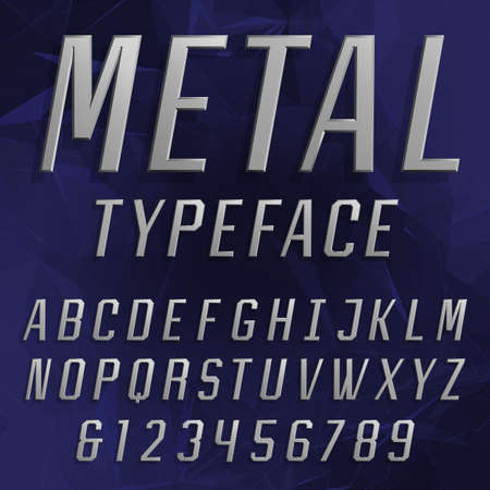 alphabetical order: Chrome Alphabet Vector Font. Type letters and numbers. Beveled metal effect letters on the polygonal background. Vector typeface for headlines, posters etc.