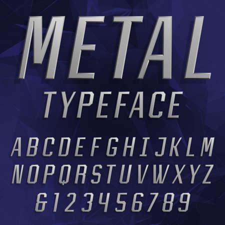 chrome letters: El alfabeto del cromo Fuente. Escribir letras y n�meros. letras de efecto met�lico biselados en el fondo poligonal. La tipograf�a del vector por t�tulos, carteles, etc. Vectores