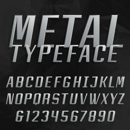 alphabetical order: Chrome alphabet vector bold font. Type letters and numbers. Beveled metal effect letters on the black polygonal background. Vector typeface for headlines, posters etc. Illustration