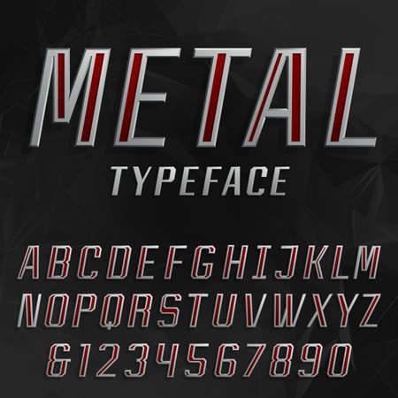 metal alphabet: Metal alphabet vector bold font. Type letters and numbers. Beveled metal effect letters on the abstract black background. Vector typeface for headlines, posters etc. Illustration
