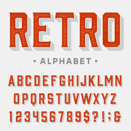 Fuente vectorial Retro. Letras, números y símbolos. Alfabeto de la vendimia por etiquetas, títulos, carteles, etc.