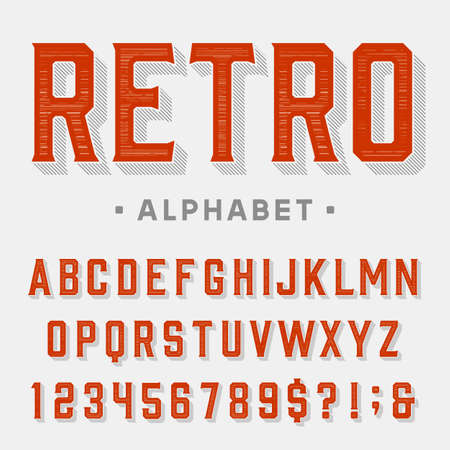 Retro vector font. Letters, numbers and symbols. Vintage alphabet for labels, headlines, posters etc. Illustration