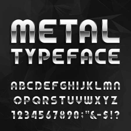 Metal Alphabet Vector Font. Type letters, numbers and symbols. Chrome effect letters on the abstract background. Vector typeface for headlines, posters etc. Çizim