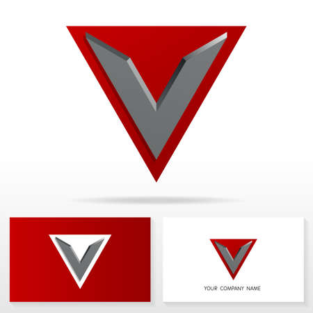 v shape: Letter V logo design - vector sign. Business card templates. Illustration