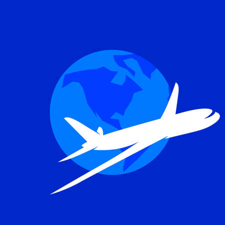 world travel: The airplane vector logo template. The symbols of the flying plane and the Earth.
