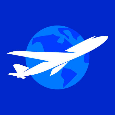 airplane: The plane vector logo. The symbols of the airplane and the Earth planet. Stock vector.