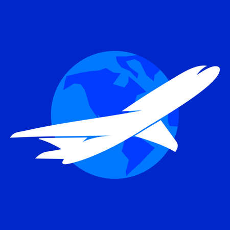 earth logo: The airplane vector logo template. The symbols of the flying plane and the Earth.
