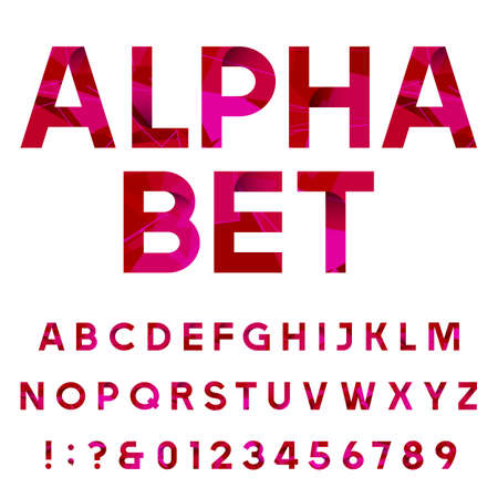 sans serif: Abstract decorative alphabet vector font. Sans serif type letters, numbers and symbols on the white background. Vector geometric typeface for headlines, posters etc.