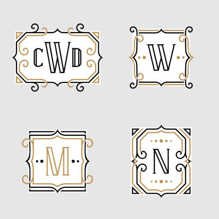 contemporary style: The set of stylish retro monogram emblem templates in trendy outline style on the light background. Vintage business sign, identity, label for hotel, cafe, boutique, jewelry. Stock vector.