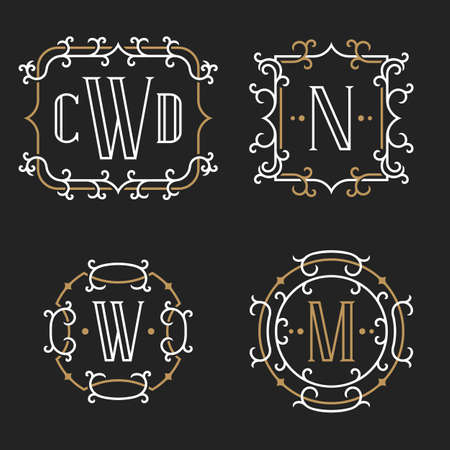 art vector: The set of stylish retro monogram emblem templates in trendy outline style on the dark background. Vintage business sign, identity, label for hotel, cafe, boutique, jewelry. Stock vector.