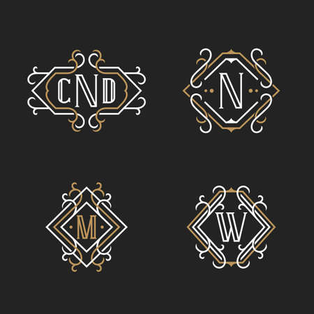 The Set Of Elegant Vintage Monogram Emblem Templates In Trendy ...