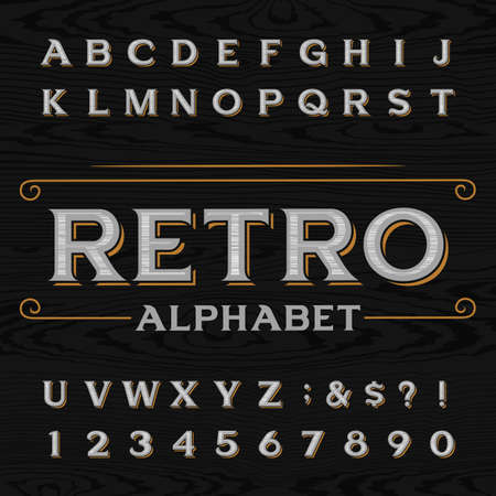 Distressed retro vector typeface. Letters, numbers and symbols on the dark wood textured background. Alphabet font for labels, headlines, posters etc.  イラスト・ベクター素材
