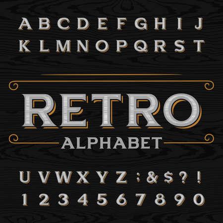 Verontrust retro vector lettertype. Letters, cijfers en symbolen op de donkere houten getextureerde achtergrond. Alfabetletter voor labels, krantenkoppen, posters, enz.