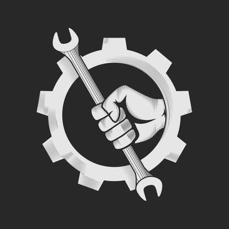 fixing: Car or bike workshop logo template concept. The spanner in the hand and gear combined in vector sign. Vector illustration.