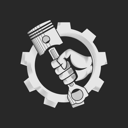 engine pistons: Car or bike workshop logo template concept. Car engine pistons in the hand and gear combined in vector sign. Vector illustration.