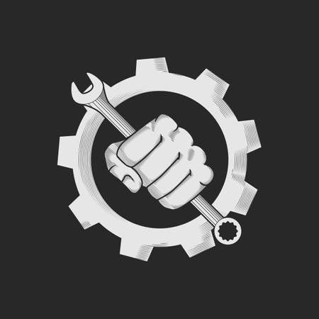 Car or bike repair shop logo template concept. The wrench in the hand and gear combined in vector sign. Vector illustration. Illustration