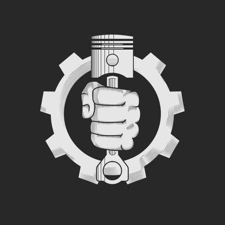 puÑos: Coche o reparación de bicicletas concepto de tienda insignia de la plantilla. Pistones del motor del coche en la mano y el engranaje combinan en signo de vectores. Ilustración del vector.