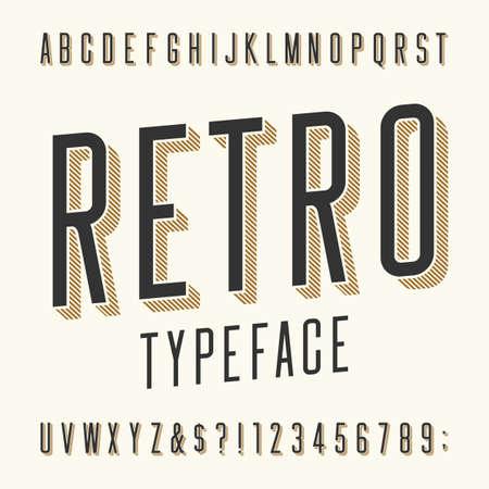 vintage: Retro Schrift. Buchstaben, Zahlen und Symbolen. Weinlese-Alphabet-Vektor-Schriftart für Etiketten, Titel, Poster etc.