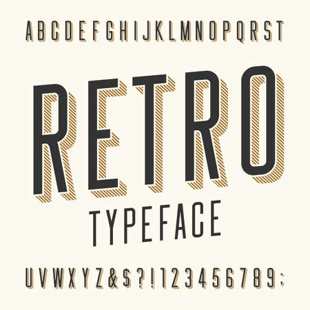 Retro typeface. Letters, numbers and symbols. Vintage alphabet vector font for labels, titles, posters etc.