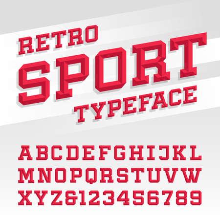Abgeschrägte Alphabet-Vektor-Schriftart. Retro Sport Stil Schriftart für Etiketten, Titel, Poster oder Sportübertragungen. Geben Sie Buchstaben, Zahlen und Symbole auf dem hellen Hintergrund.