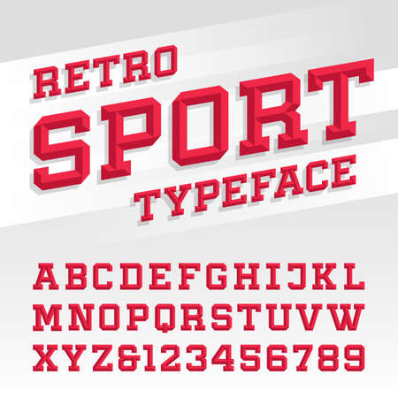 deporte: Biselado fuente vectorial alfabeto. Tipografía estilo deportivo retro de etiquetas, títulos, carteles o transferencias de ropa deportiva. Escriba letras, números y símbolos en el fondo brillante. Vectores