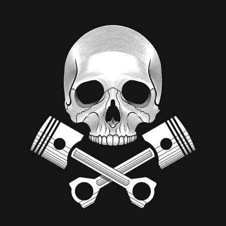 The skull and crossed car engine pistons on the black background. Car or bike repair shop logo template concept. Vector illustration. Ilustracja