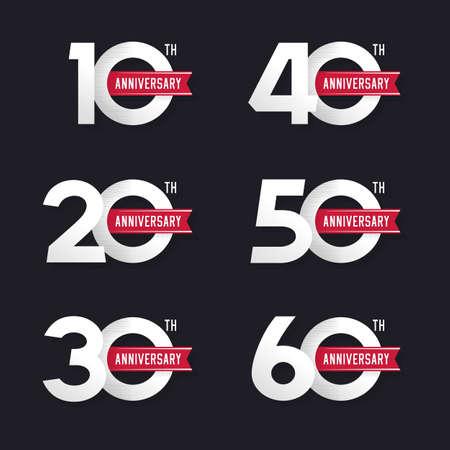 De set van de verjaardag van de borden van 10 tot 60. Stock vector illustratie. Design elementen.
