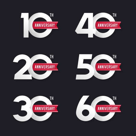 The set of anniversary signs from 10th to 60th. Stock vector illustration. Design elements. Illustration