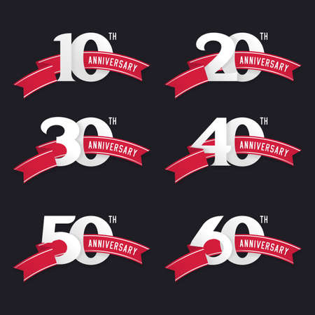 De set van de verjaardag van de borden van 10 tot 60. Stock vector design elementen.