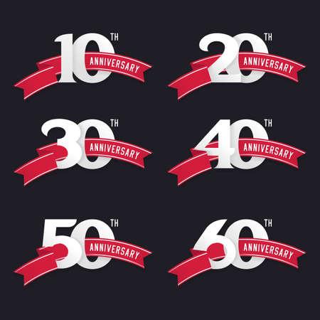 numero diez: El conjunto de signos aniversario del 10 al # 60. elementos de diseño stock vector.