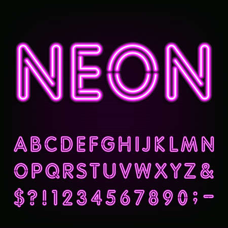 purple?: P�rpura luz de ne�n del alfabeto fuente. Letras de ne�n efecto, n�meros y s�mbolos en el fondo oscuro. Vectorial tipo de letra para etiquetas, t�tulos, carteles, etc.