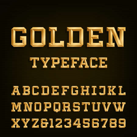typeset: Golden Alphabet Vector Font. Type letters, numbers and symbols. Gold effect letters on the dark background. Vector typeset for headlines, posters etc. Illustration