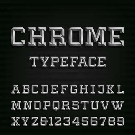 Beveled Chrome Alphabet Vector Font. Type letters, numbers and symbols. Chrome effect letters on the dark background. Vector typeset for headlines, posters etc.