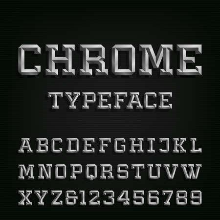 cromo: Biselado de cromo alfabeto vector de fuente. Escriba letras, n�meros y s�mbolos. Cartas de efecto del cromo en el fondo oscuro. Vector tipograf�a para los t�tulos, carteles, etc.