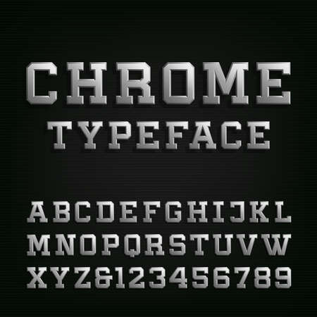 typeset: Beveled Chrome Alphabet Vector Font. Type letters, numbers and symbols. 3D metal effect letters on the dark background. Vector typeset for headlines, posters etc. Illustration