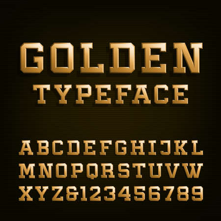 typeset: Golden Alphabet Vector Font. Type letters, numbers and symbols. 3D effect letters on the dark background. Vector typeset for headlines, posters etc.