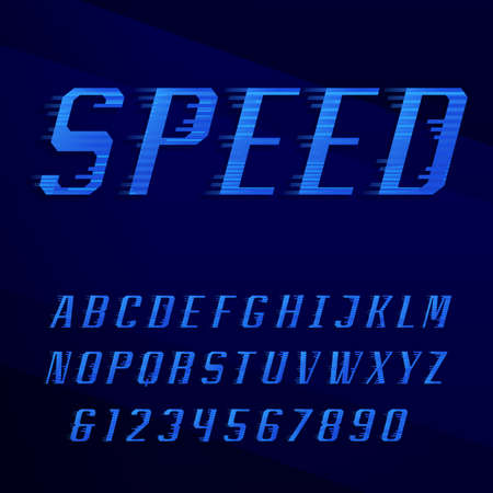 rapidity: Speed alphabet vector font. Motion effect letters, numbers and symbols in blue colors. Vector typography for headlines, posters etc.