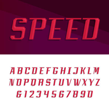 quickness: Speed alphabet vector font. Motion effect letters and numbers in modern style. Vector typography for headlines, posters etc.