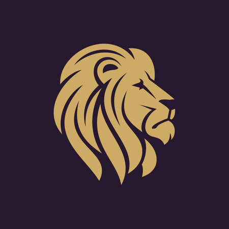 head icon: Lion head logo or icon in one color. Stock vector illustration.