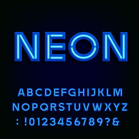 Blue neon light alphabet font. Neon tube effect letters and numbers on the dark background. typography for labels, titles, posters etc.