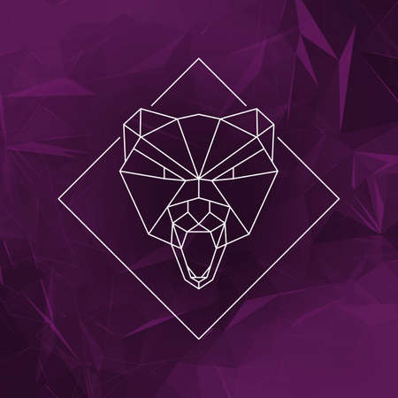low poly: The bear head sign Icon - Vector illustration. The wolf head in low poly style on the abstract geometric background.